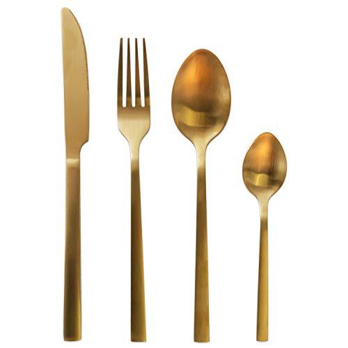 Juego de cubiertos de 16 piezas de acero inoxidable dorado, cubiertos para...