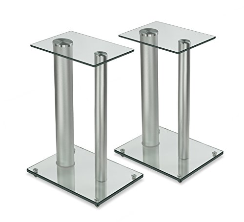 Mount-It! Bookshelf and Floor Speaker Stands for Surround Sound Home Theaters, 18 Inch High, 22 Lbs Capacity, Tempered Glass and Aluminum, Clear and Silver, One Pair