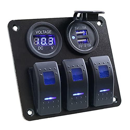 Monland VoltíMetro Digital Puerto Usb Doble Panel de Interruptor de Barco Panel de Interruptor de Coche Panel de Interruptor Basculante Led de CombinacióN de Salida 12-24V