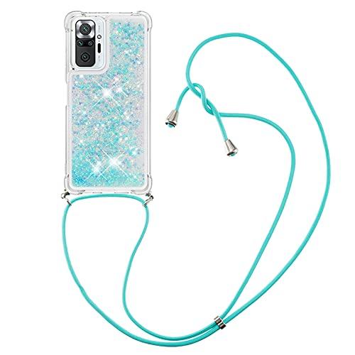Handykette Handyhülle für Xiaomi Redmi Note 10 Pro, HülleLover Glitzer Flüssig Bewegende Treibsand Transparent Silikon Hülle mit Kordel zum Umhängen Necklace Hülle für Redmi Note 10 Pro Max, Silber Blau