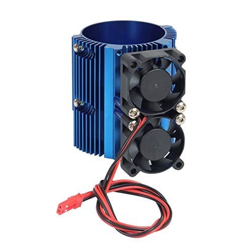 XIOFYA 1/8 del Ventilador Motor Doble Twin Cooling radiador en Forma for el E-REVO 41-43mm Motor 1/10 Summit Motor disipador RC Recambios (Color : Fit for 3TT105434 BL)