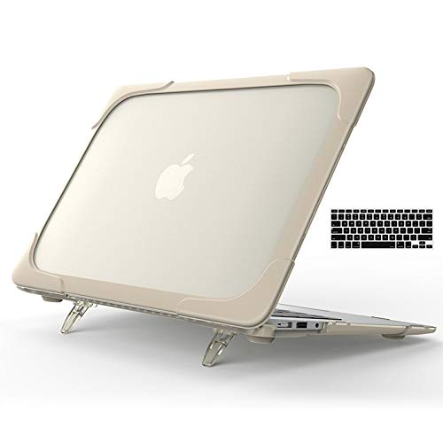 Werleo Rubberized Hard Protective Case ShockProof Cover with Kickstand & Keyboard Cover for MacBook Air 11.6 Inch Model: A1370 A1465 (Khaki)