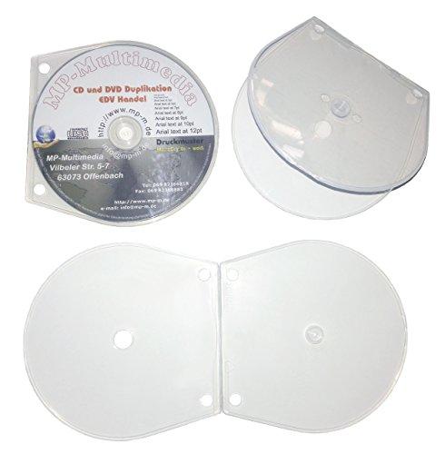 100 Shell CD Hüllen Zum Abheften, CD Shellbox in Muschel Form mit Abheftlochung aus PP Kunststoff Farblos unzerbrechlich