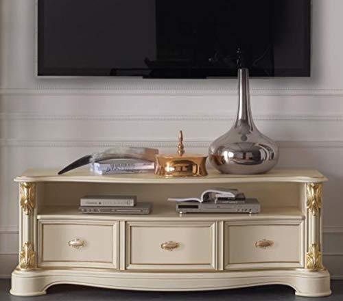 Casa Padrino Barock TV Schrank Creme/Gold 162 x 49 x H. 61 cm - Fernsehschrank mit 3 Schubladen - Edle Barock Wohnzimmer Möbel