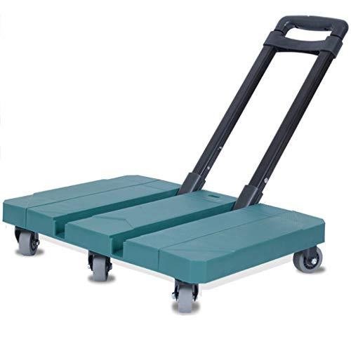 Handwagen Trolley Black Folding Travel Car Tragbarer Trolley Reise Mit Flachbett Home-Einkaufswagen Pull Cargo Trailer (Color : D, Size : 47 * 33 * 16cm)
