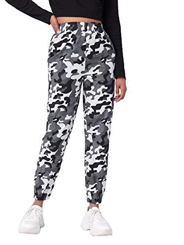 SOLY HUX Pantalones de chándal para mujer, de camuflaje, con cinturón, bolsillos laterales, con cremallera, multicolor, para correr, capris Jogger Color: 13. L