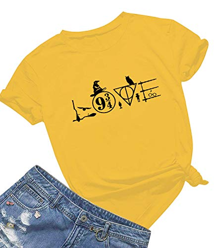 Womens Casual Short Sleeve Graphic Printed 9 and 3/4 T Shirts Cute Funny Tops Yellow