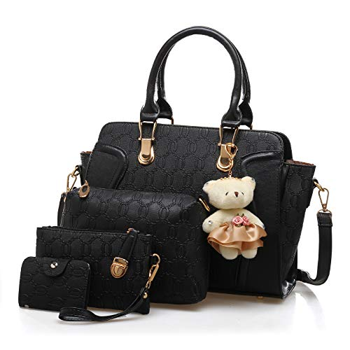 Pahajim Bolsos de Mujer 4 Piezas Bolso Totes Grande de Hombro Satchel Bolsos PU Bolso Señoras Shopper Purse Set(Negro)