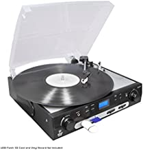 Pyle Upgraded Vintage Record Player – Classic Vinyl Player, Retro Turntable, MP3..
