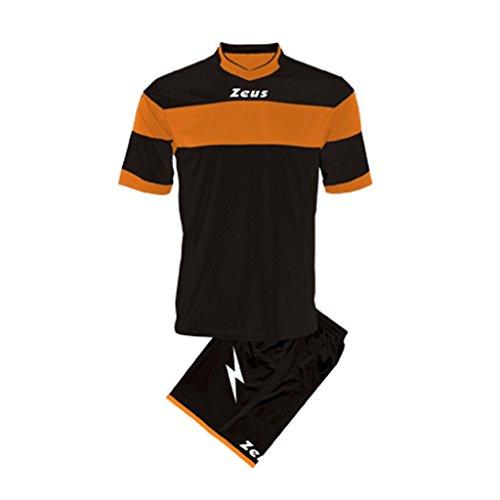 Zeus Herren Kinder Set Trikot Shirt Hosen Klein Armel Kit Fußball Hallenfußball Kit Apollo Schwarz Orange (S)