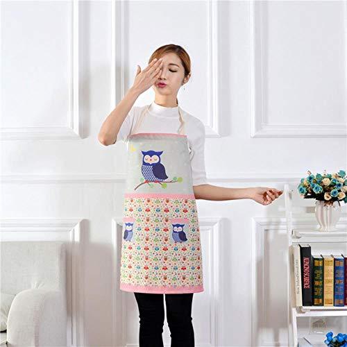 Goey 1 stks Katoen Linnen Uil Bloem Patroon Schort Vrouw Volwassen Bibs Thuis Koken Koffie Shop Schoonmaken Schort Keuken, Ik