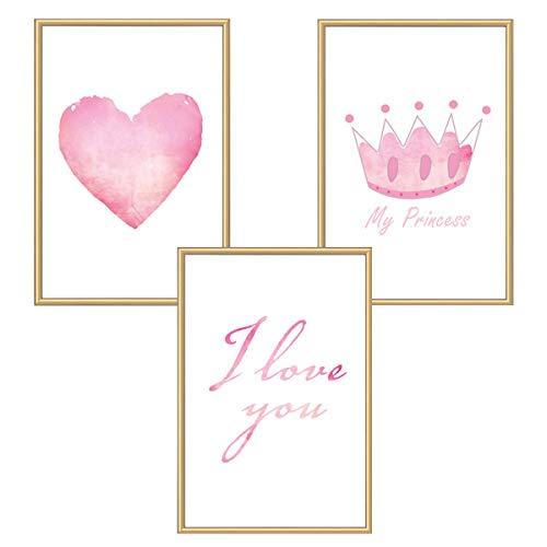 Himmelzucker Premium Wandbilder 3er set für Kinderzimmer Babyzimmer Poster DIN A4 Deko Kinder Kinderposter Junge Mädchen Dekoration Bilder Love (I Love You)