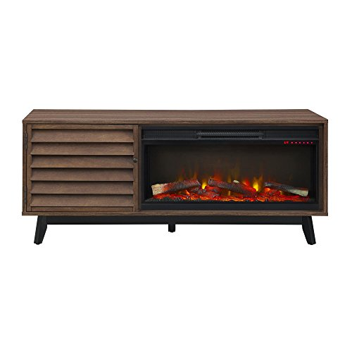 Ameriwood Home Vaughn Electric Fireplace TV Stand, Walnut