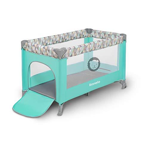 Lionelo Adriaa Baby Bett Laufstall Baby Reisebett Baby ab Geburt bis 15kg Seiteneingang Lockguard System und Blockade der Räder Moskitonetz Tragetasche zusammenklappbar (Türkis) - 4