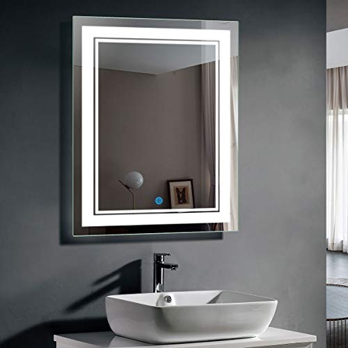 28 x 36 In Vertical LED Bathroom Silvered Mirror with Touch Button -