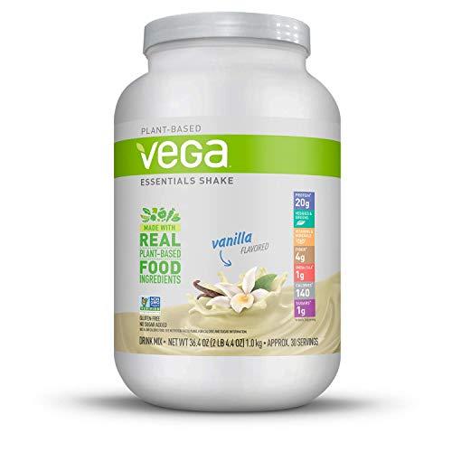 Vega Essentials Shake Vanilla(30 Servings, 36.4 Ounce) - Plant Based Vegan Protein Powder, Non Dairy, Gluten Free, Smooth and Creamy, Non GMO