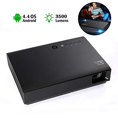 XRLTYY 3D projector, 3500 lumen, DLP Native, HD Home, Android 4.4 systeem, Smart WiFi Bluetooth Wireless, compatibel met USB/HDMI/SD/AV/VGA