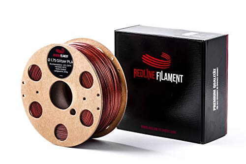 Glitzer Filament PLA 1,75mm für deinen 3D-Drucker - Hartkartonspule - Premium Qualität aus Holland (Oxidrot)