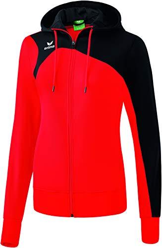 Erima Damen Club 1900 2.0 Trainingsjacke mit Kapuze, rot/Schwarz, 40