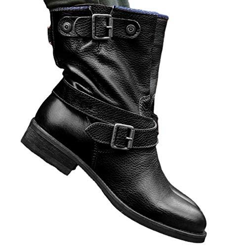 WggWy Botas De Motocicleta con Hebilla De Cinturón para Mujer, Botines De Cuero De Media Pantorrilla Informales Vintage, Botines De Tacón Bajo, Cabeza Redonda Cálida Al Aire Libre,Negro,43