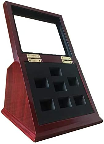 JunningGor Sports Championship Rings Wooden Display case Shadow Box Without Rings 7 Slots product image