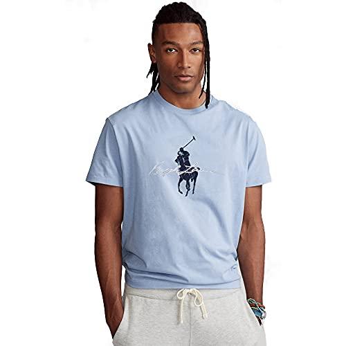 Polo Ralph Lauren T-Shirt Cotton Stretch con Big Pony (XL, Elite Blue)