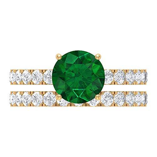 Smaragd diffuses Ehering-Set, 3,04 CT runde Edelsteine, D-VSSI Moissanit 8 mm Solitär-Verlobungsring, französischer Einstellungsring, stapelbares Ewigkeitsband, 14K Gelbes Gold, Size:EU 57