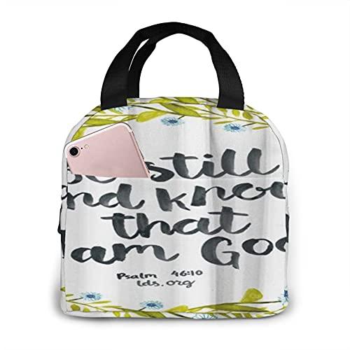 ADONINELP Bolsa de almuerzo aislada portátil,salmo del versículo de la Biblia,bolso de mano reutilizable de gran capacidad impermeable para viajes,bolsa de picnic,trabajadores,estudiantes