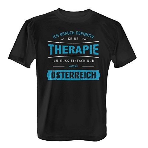 Fashionalarm Herren T-Shirt - Ich brauch Keine Therapie - Österreich   Fun Shirt Spruch Alpen Urlaub Wien Graz Salzburg Innsbruck Tirol Skifahren, Farbe:schwarz;Größe:XL