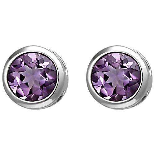 JOBO Damen Ohrstecker 925 Sterling Silber 2 Amethyste lila violett Ohrringe