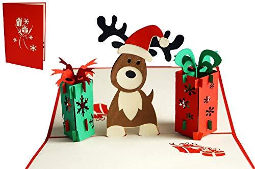 LIN 17558, POP UP Weihnachtskarte, Pop Up Weihnachten, Weihnachtskarte, 3d Weihnachtskarten, 3d Karte Weihnachten, Hirsch Weihnachtsgeschenke, N448