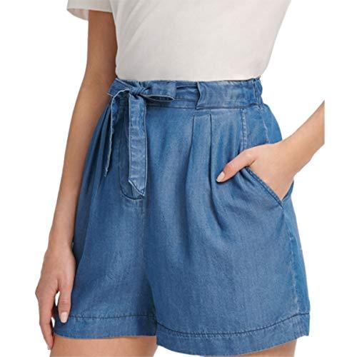 DKNY Drawstring Denim Shorts, Indigo, Size 6