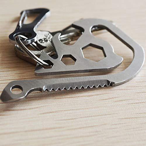 SHTSH Outdoor-Multifunktions-EDC-Tool Schlüsselanhänger Clip Sägen Flaschenöffner Gürtel Rucksack Clip Schlüssel Werkzeugtasche Campingausrüstung