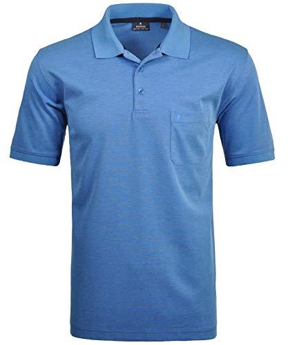 RAGMAN Herren Kurzarm Softknit Poloshirt ,Gr:-L ,Farbe:-Blau