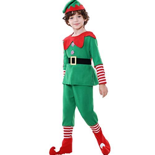 Haplws Weihnachtself Kostüm Set, Kinder Elfen-Kostüm mit Mütze in den Farben Rot und Grün für Damen und Herren Karneval Halloween Party