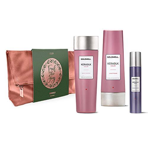 Goldwell Kerasilk Color Xmas Bag Bag Set - Champú de 250 ml + Color Conditioner 200 ml + Style Texture Refresh Spray 75 ml
