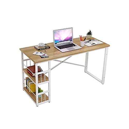 LICHUAN Escritorio industrial para computadora con 2 estantes de almacenamiento, escritorio de 47 pulgadas, mesa de trabajo para oficina en el hogar (color: A)