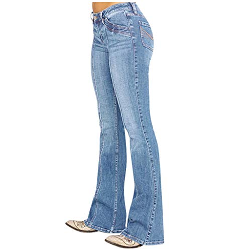 Pantalon Femme Jean Taille Haute Chic, YUYOUG Femmes Jeans Taille Moyenne Denim Jeans Broderie Stretch Button Flare Pants Jeans Pants Trousers