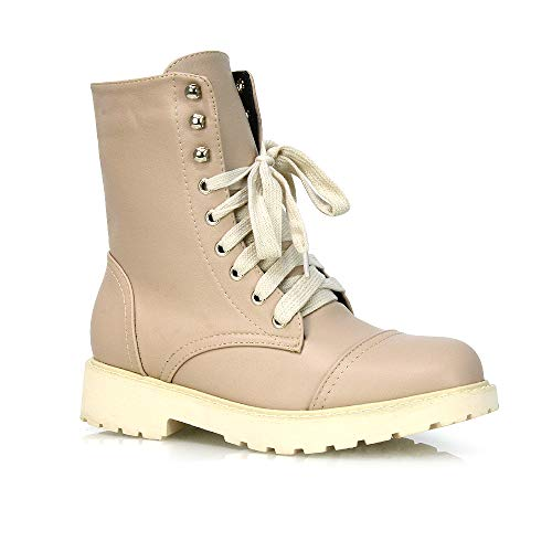 Womens Lace Up Ankle Boots Chunky Grip Sole Ladies Winter Retro Combat Goth Biker Military Army Shoes Booties Size 3-8 (5 UK, Nude Synthetic Leather, 5)