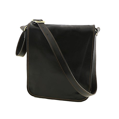 Herrentasche aus Leder - 2021 - Echtledertasche Dunkelbraun Farbe 27 x 30 x 12 cm.