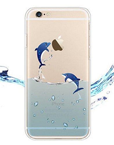 iPhone 5 5S / SE Cover , YIGA Delfino Blu Mare Trasparente Silicone Cristallo Morbido TPU Case Custodia per Apple iPhone 5 5S SE