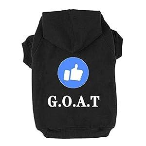 Trudz PET Dog Hoodies, Rdc Pet Apparel 'Like' Emoticon Dog Clothes, G.O.A.T' Winter Sweatshirt Warm Sweater, Cotton Jacket Coat for Samll Dog Medium Dog Large Dog Cat (Black, S)