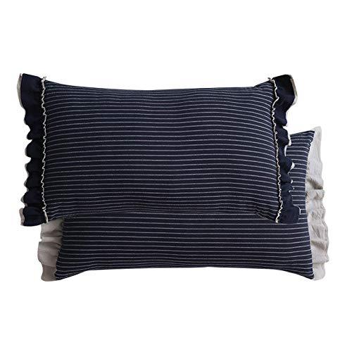 Funda de cojín de almohada lumbar de sofá de rayas pastoral con encaje de hoja de loto