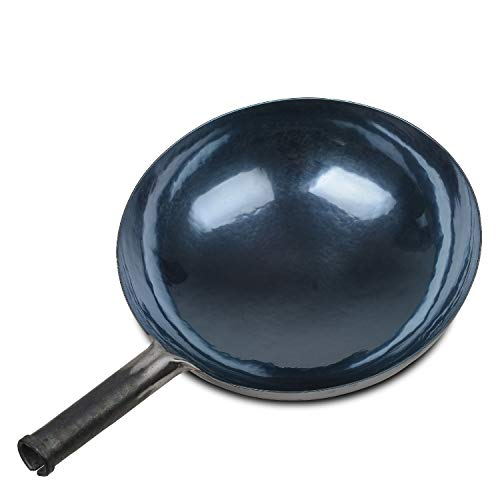Product Image 1: Chinese Hand Hammered Iron Woks and Stir Fry Pans, Non-stick, No Coating, Less Oil, 章丘铁锅,舌尖上的中国,A bite of China (seasoned 30CM)