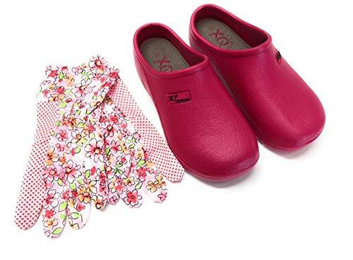 Trachten-Dirndl-More Damen Clogs & Pantoletten mit Gartenhandschuhen Verschiedene Designs Blumen, Uni,Punkte (Pink, Numeric_37)