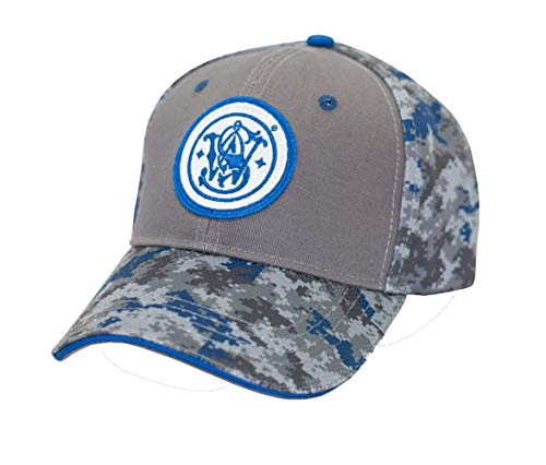 Smith and Wesson Men Embroidered Circle Logo Cap, Grey and Blue