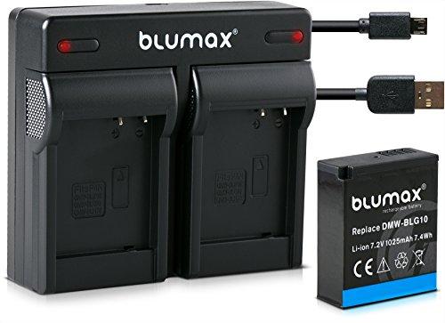 Blumax Akku ersetzt Panasonic DMW-BLG10 e 1025mAh + Mini Dual-Ladegerät kompatibel mit DC GX9 TZ202 TZ91 DMC TZ101 TZ81 GF6 GX7 GX80 LX100
