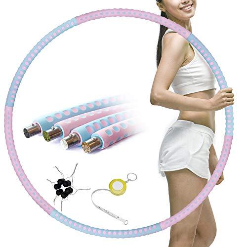 Synchain Abnehmbarer Hula Hoop, Hula Hoop Reifen Erwachsene, Hoola Hoop Reifen von 1 bis 3,2kg für schmerzempfindliche und Profis, hullahub Reifen für Abnehmen, Fitness, Massage