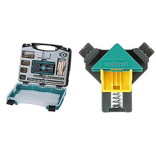 Wolfcraft 4642000 Undercover Jig Set & ES 22 Eckenspanner 3051000 Set – 2 Winkelspanner zur Fixierung von Brettern & Rahmen im 90° Winkel – Eckspanner für Brettstärken von 10-22mm
