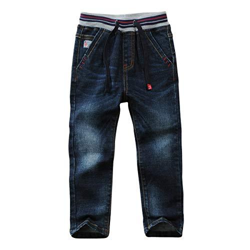 LAPLBEKE Jungen Jeans Kordelzug Bund Jeanshose Straight Fit Denim Hosen für Kinder Blau, 160